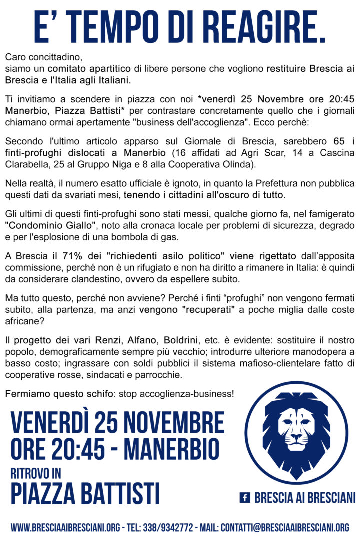 Venerdì 25 Novembre, ore 20:45 a Manerbio.